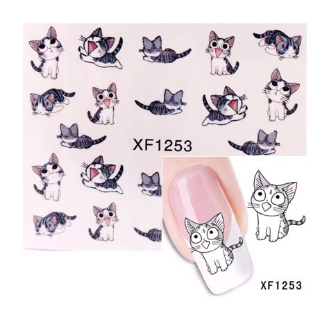 Sticker Water Decal Ble2335 zko 1 sheet cat pattern nail sticker water decals nail water transfer stickers nails