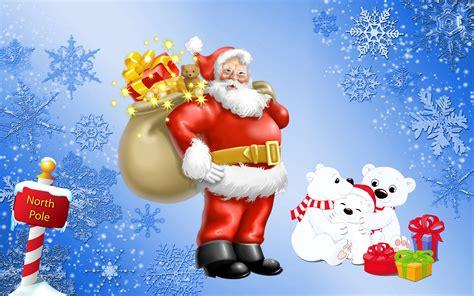 santa claus north pole gifts  polar bears desktop hd wallpaper  mobile phones tablet