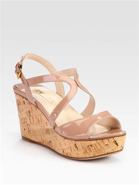 prada wedge sandals prada patent leather and cork wedge sandals in beige