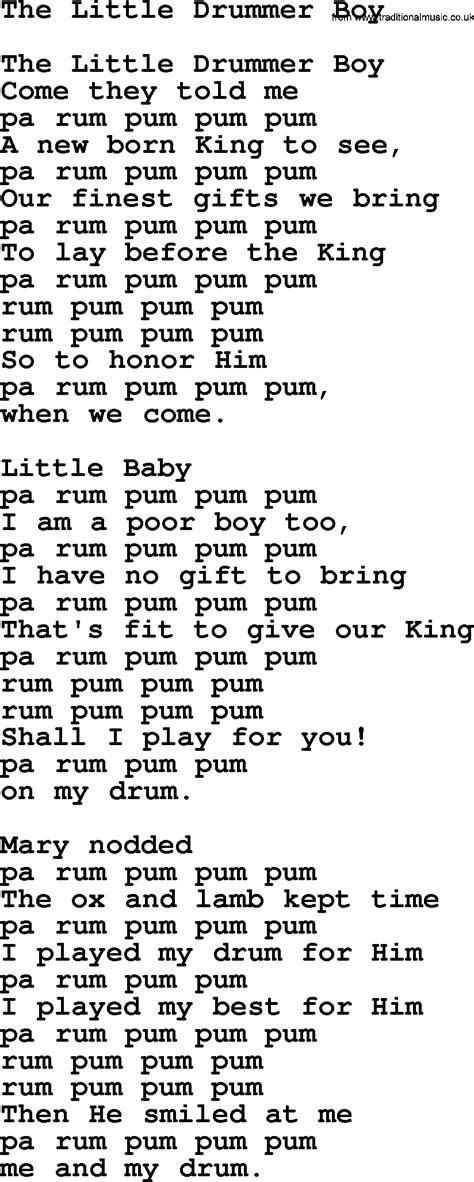 lyrics pdf drummer boy song