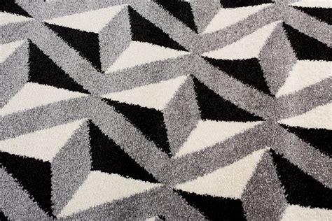teppich schwarz weiß zick zack tapiso teppiche geometrische muster zick zack 3d karo