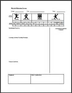 Phys Ed Lesson Plan Template by Physical Ed Lesson Template 1 Teacherplanet
