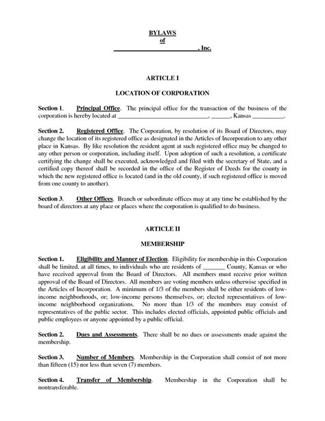 corporate bylaws template free collection bylaws sle