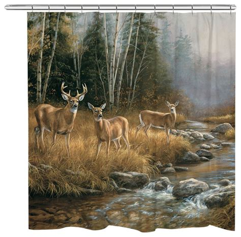 whitetail deer curtains wild whitetail deer family shower curtain contemporary