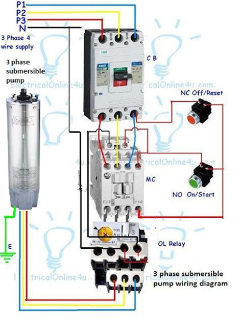3 phase submersible wiring diagram with dol stater