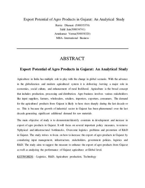 thesis abstract keywords export potential of agro product in gujarat report