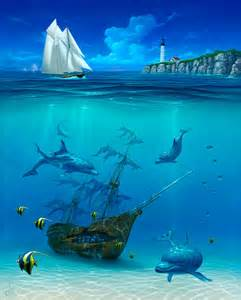 Dolphin Wall Murals dolphins and sunken ship painting by david miller