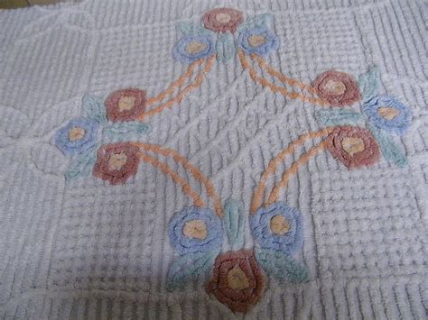 Antique Chenille Bedspreads Vintage Chenille Bedspreadfloral With Powder From Home