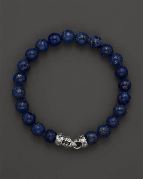 lapis bead bracelet mens lapis bead bracelet with riveted sterling
