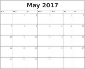 May 2017 monthly calendar