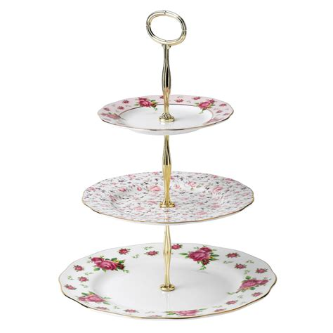 etagere porzellan royal albert new country roses white vintage 3 tier cake