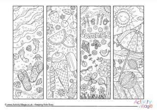 printable bookmarks activity village summer colouring pages