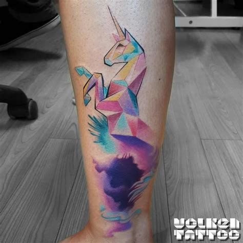 abstract watercolor unicorn tattoo tattoo pinterest