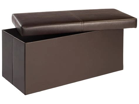 Small Leather Ottoman Brown Faux Leather Ottoman Storage Stool Blanket Box Small Medium Ebay