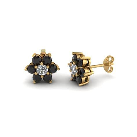 Blue Flower Stud Earrings Gold flower stud earring with black in 18k yellow