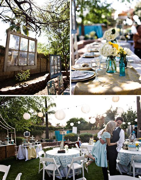 backyard wedding on a budget real wedding catie ben s vintage inspired backyard
