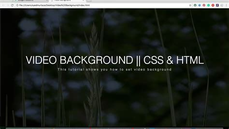 set video background  pure css  html youtube