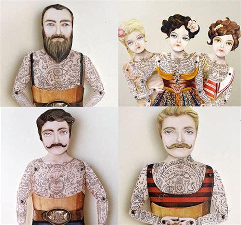 tattoo paper dolls ready to ship victorian tattoo paper doll puppet miss