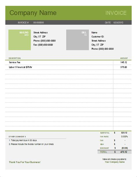 templates for invoices free excel simple invoice template for excel free