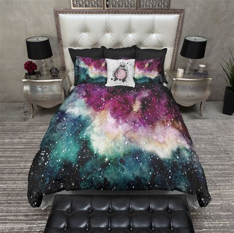 galaxy bed spread maroon and green watercolor galaxy bedding ink and rags