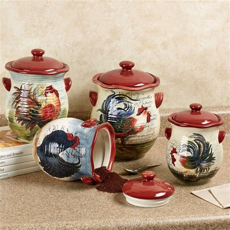 canister sets for kitchen le rooster kitchen canister set