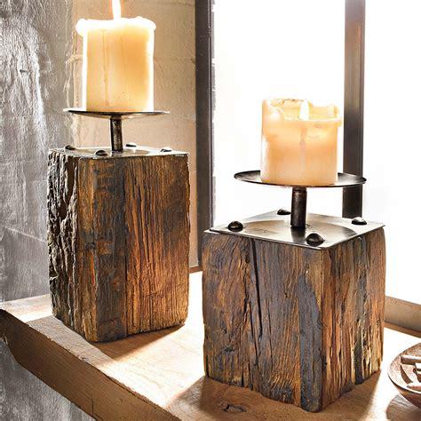 kerzenhalter aus holz 2 tlg kerzenhalter set quot wood quot kerzenst 228 nder dekost 228 nder