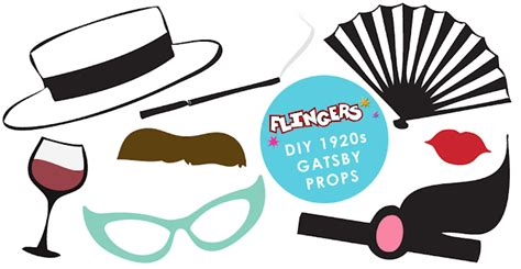 printable great gatsby photo booth props flingers party shop blog free gatsby photobooth prop box
