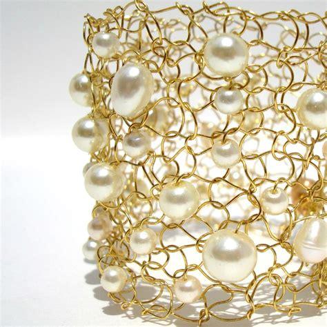 Pearl Ivory gold ivory bridal jewelry cuff bracelet ivory pearl