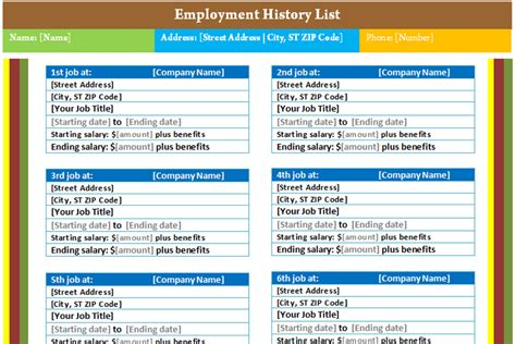 resume work history exle employment history list template dotxes