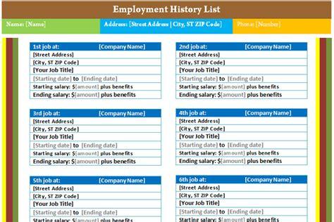 resume history exle employment history list template dotxes