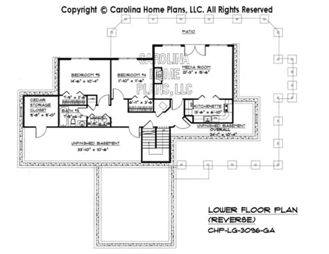 reverse floor plan large hillside ranch home plan chp lg 3096 ga sq ft