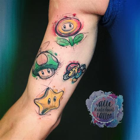 small mario tattoos characters from mario watercolour sketchy by