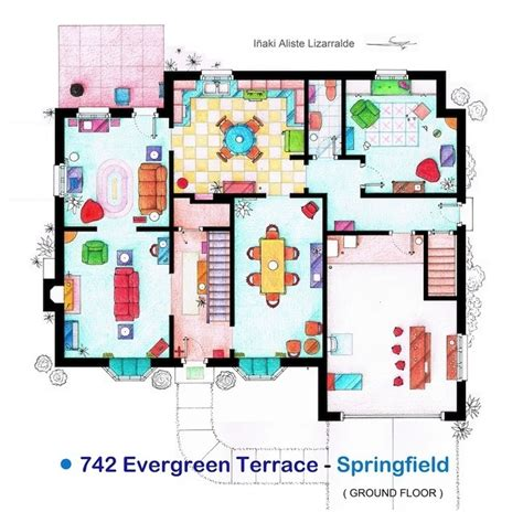 742 evergreen terrace floor plan 742 evergreen terrace cartoons pictures pinterest