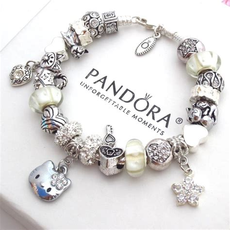 authentic pandora silver bracelet with charms white hello