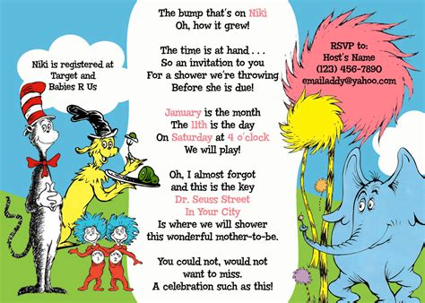 Dr Seuss Baby Shower Invitations by Dr Seuss Baby Shower Invitations Printable Free Cimvitation