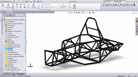 design journal solidworks modeling a fsae frame part 2 youtube