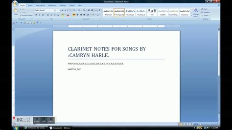 Letter How To Play Clarinet Letter Notes
