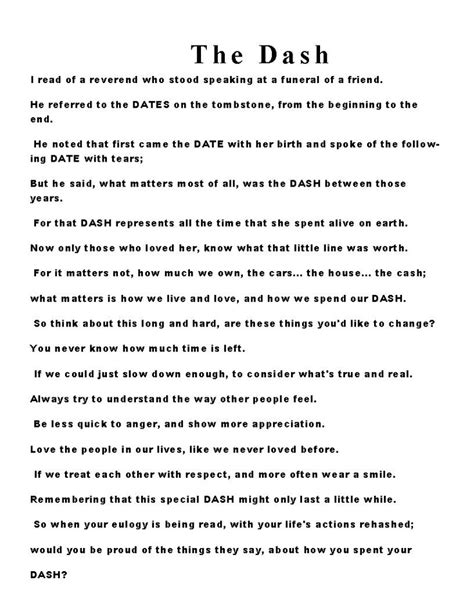 printable version of the dash poem pin the dash poem text image search results on pinterest