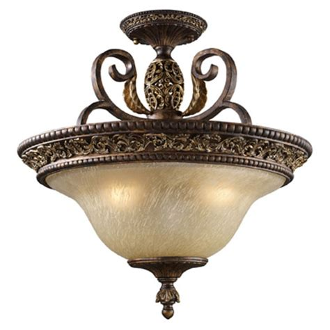 Bronze Semi Flush Ceiling Light elk lighting home regency burnt bronze semi flush ceiling light