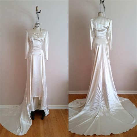 Vintage Satin Wedding Dresses by Vintage 1930s Silk Satin Wedding Dress 30s Wedding Dress