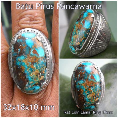 Liontin Batu Pirus Bima Pancawarna koleksi batu antik pr95 sold batu pirus pancawarna big
