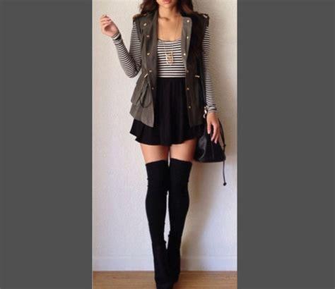 shirt skirt striped shirt vest knee high socks thigh