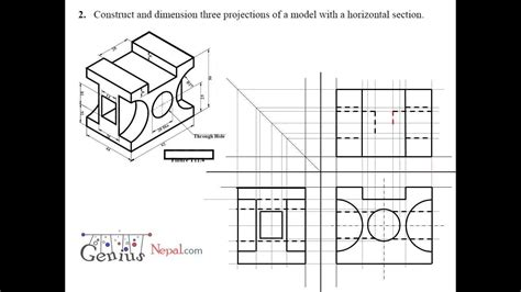 sectional orthographic engineering drawing tutorials orthographic and sectional