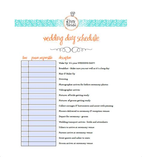 wedding agenda wedding reception itinerary template