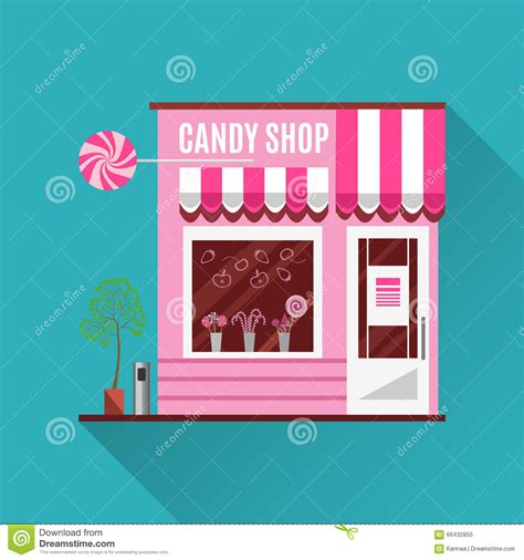 pink flat color candy shop in a pink color flat vector design stock