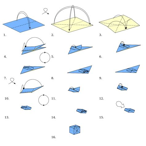How To Fold An Origami Cube - file origami cube svg wikimedia commons