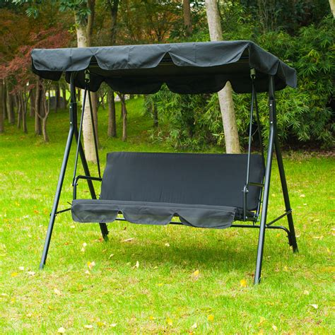 patio swing bench patio swing chair 3 person outdoor garden hammock canopy