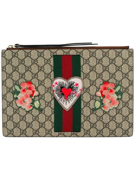 Gucci Broche Gg Leather Ss17 Bag 865 lyst gucci embroidered gg supreme clutch bag