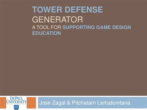 game design education tower defense generator a tool for supporting game design
