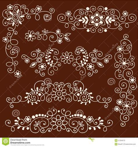 henna mehndi vines and flowers decorative borders stock